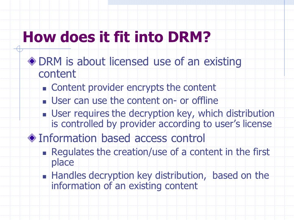 How does it fit into DRM.