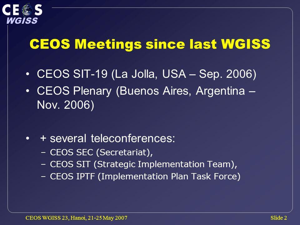 Slide 13 WGISS CEOS WGISS 23, Hanoi, 21-25 May 2007 CEOS Relationship to IGOS-P IGOS-P meeting (Monday 12 Nov.) CEOS invited IGOS Partners to reconsider their positions on the future of IGOS-P as GEO should encompass the IGOS-P themes.