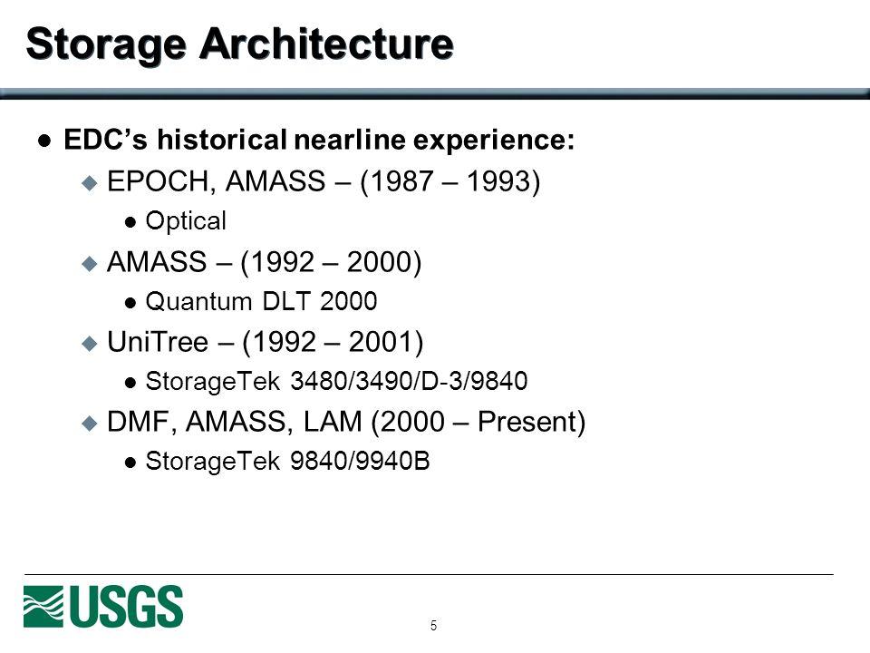 5 Storage Architecture EDCs historical nearline experience: EPOCH, AMASS – (1987 – 1993) Optical AMASS – (1992 – 2000) Quantum DLT 2000 UniTree – (199