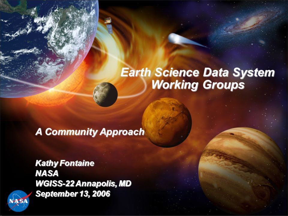 Earth Science Data System Working Groups A Community Approach Kathy Fontaine NASA WGISS-22 Annapolis, MD September 13, 2006
