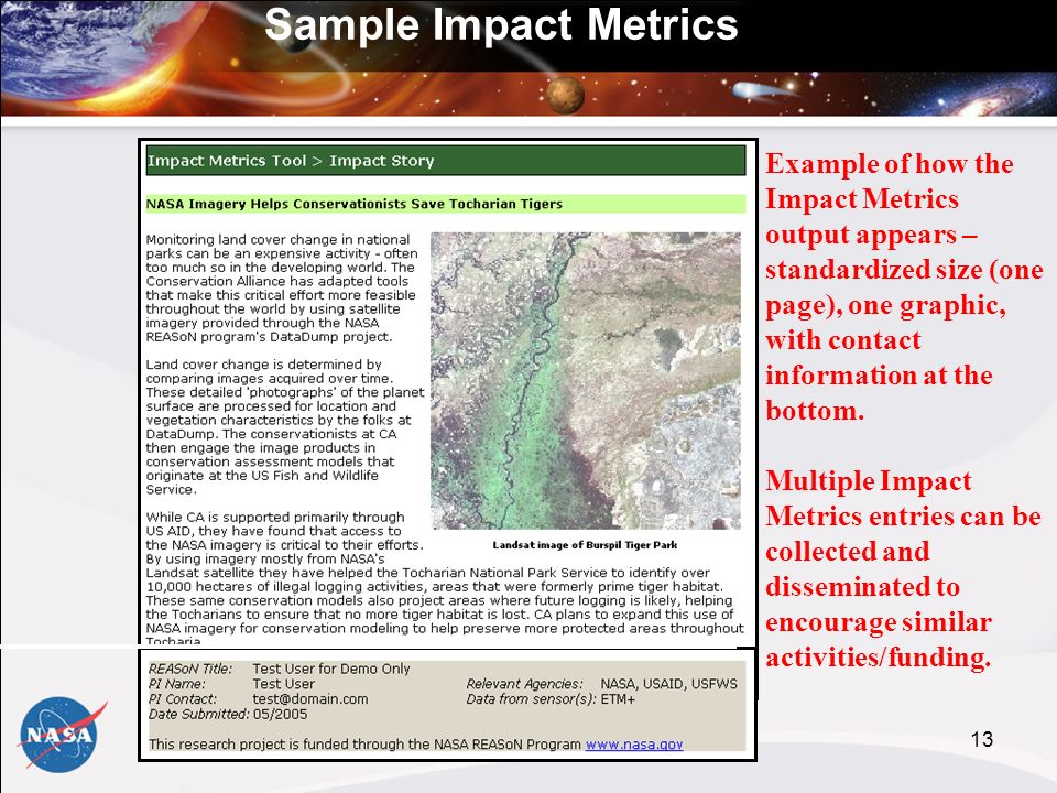 13 Example of how the Impact Metrics output appears – standardized size (one page), one graphic, with contact information at the bottom.