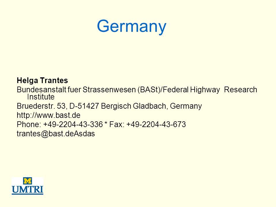 Germany Helga Trantes Bundesanstalt fuer Strassenwesen (BASt)/Federal Highway Research Institute Bruederstr.