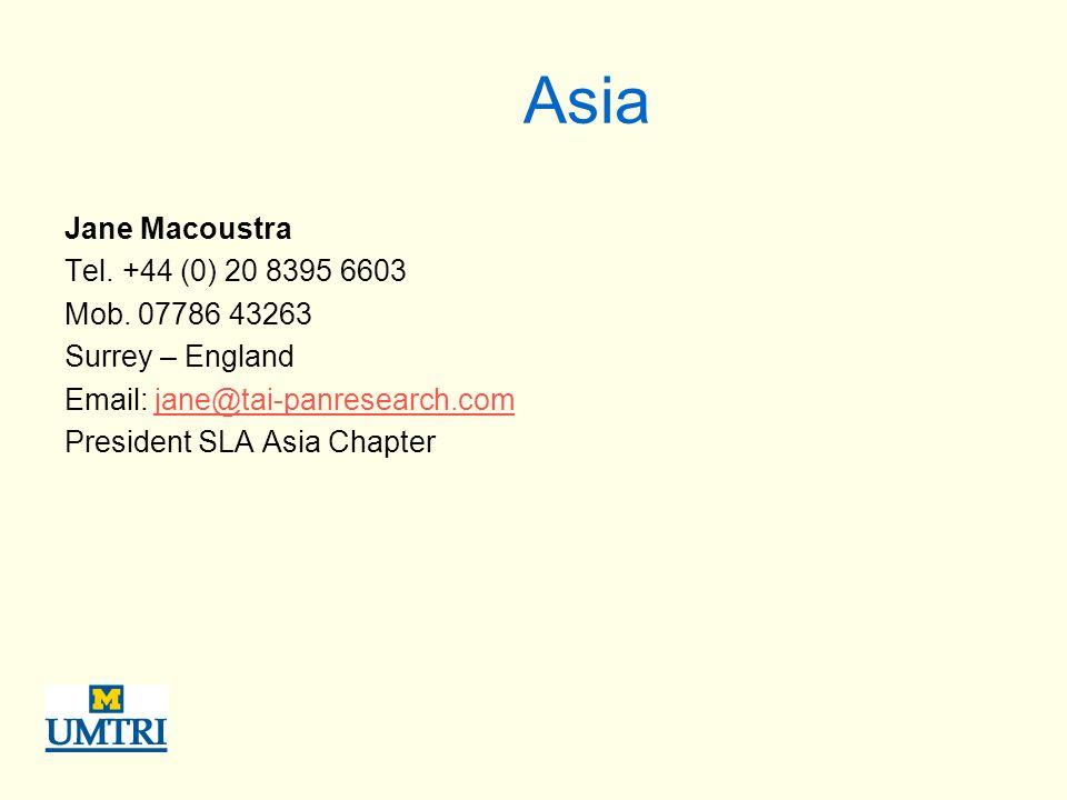 Asia Jane Macoustra Tel. +44 (0) 20 8395 6603 Mob.