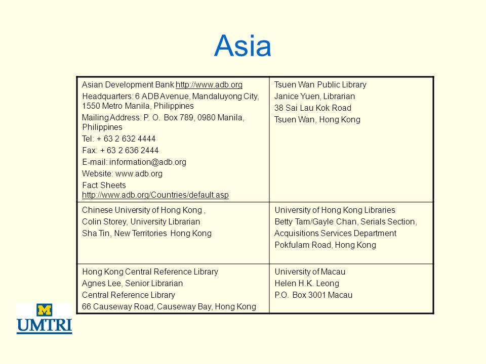 Asia Asian Development Bank http://www.adb.org Headquarters: 6 ADB Avenue, Mandaluyong City, 1550 Metro Manila, Philippines Mailing Address: P.