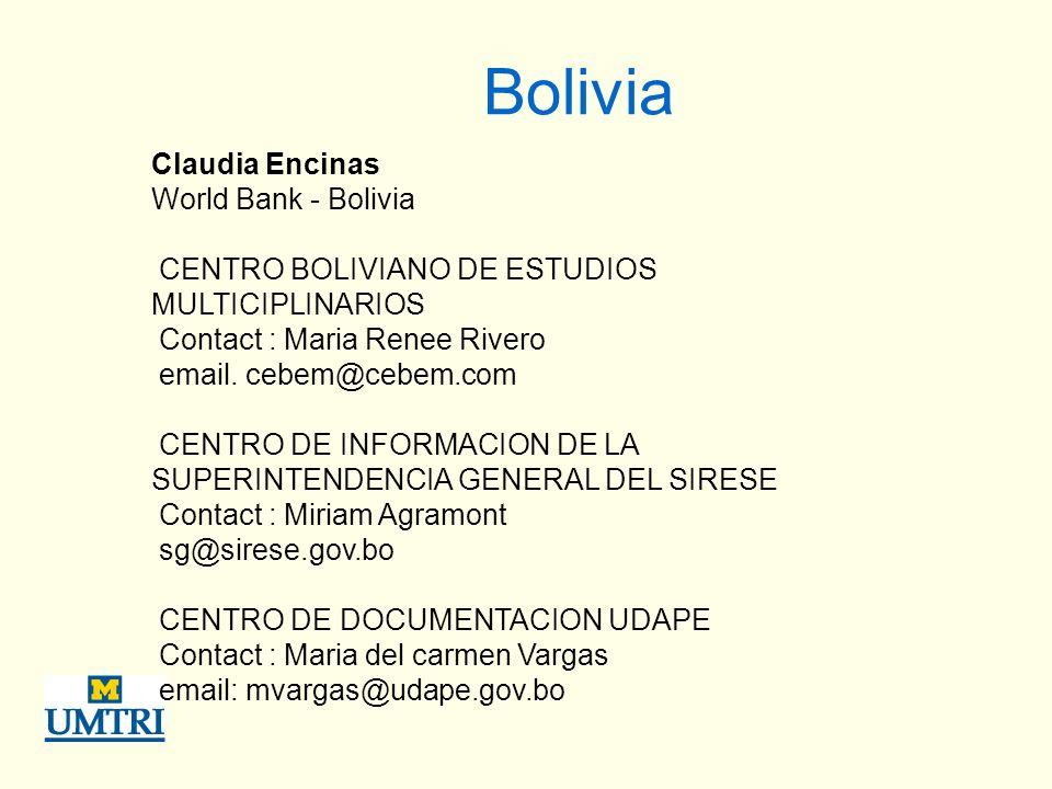 Bolivia Claudia Encinas World Bank - Bolivia CENTRO BOLIVIANO DE ESTUDIOS MULTICIPLINARIOS Contact : Maria Renee Rivero email.