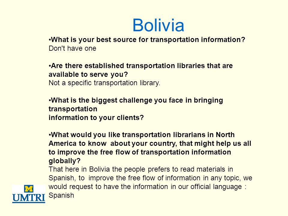 Bolivia What is your best source for transportation information.
