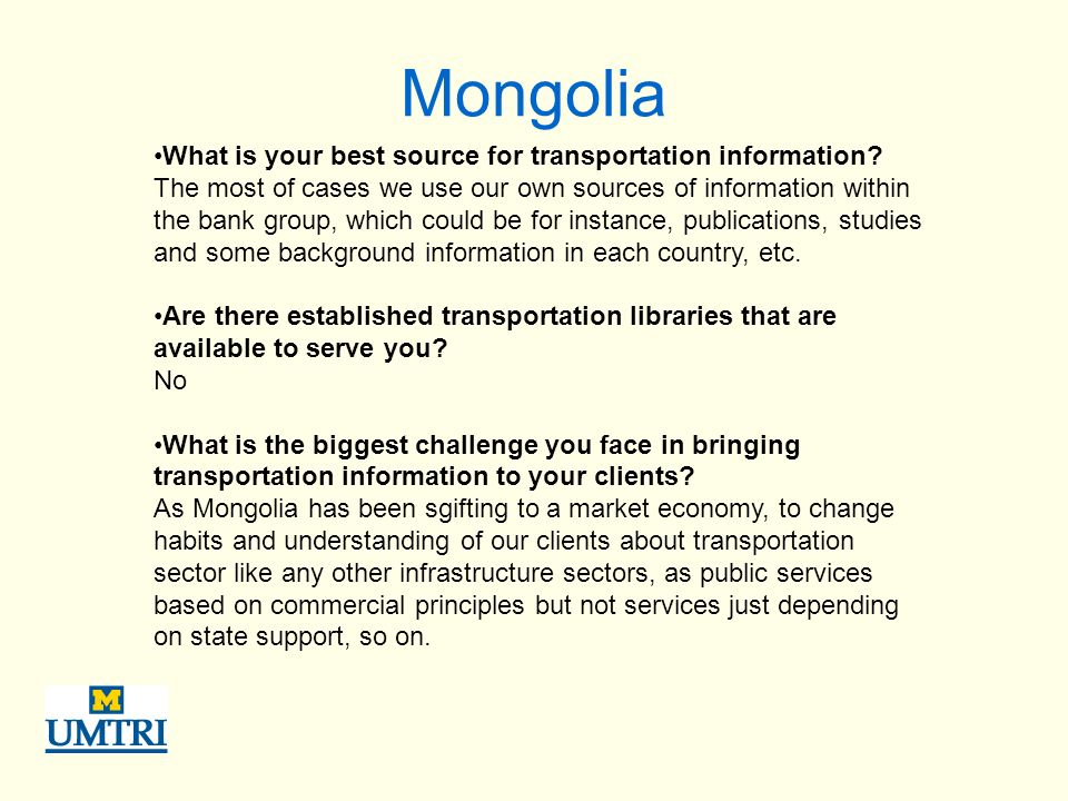 Mongolia What is your best source for transportation information.