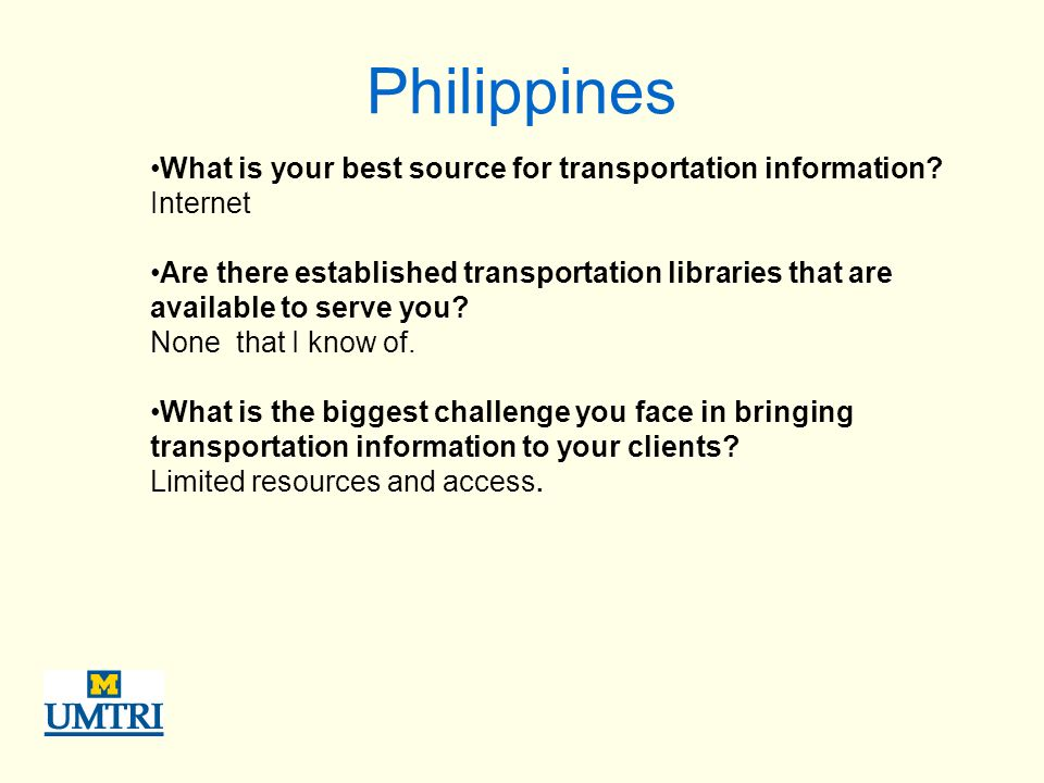 Philippines What is your best source for transportation information.