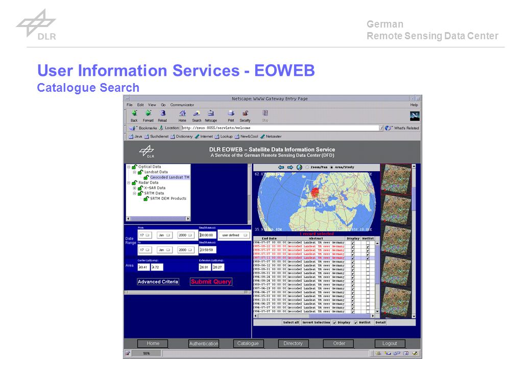German Remote Sensing Data Center User Information Services - EOWEB Catalogue Search