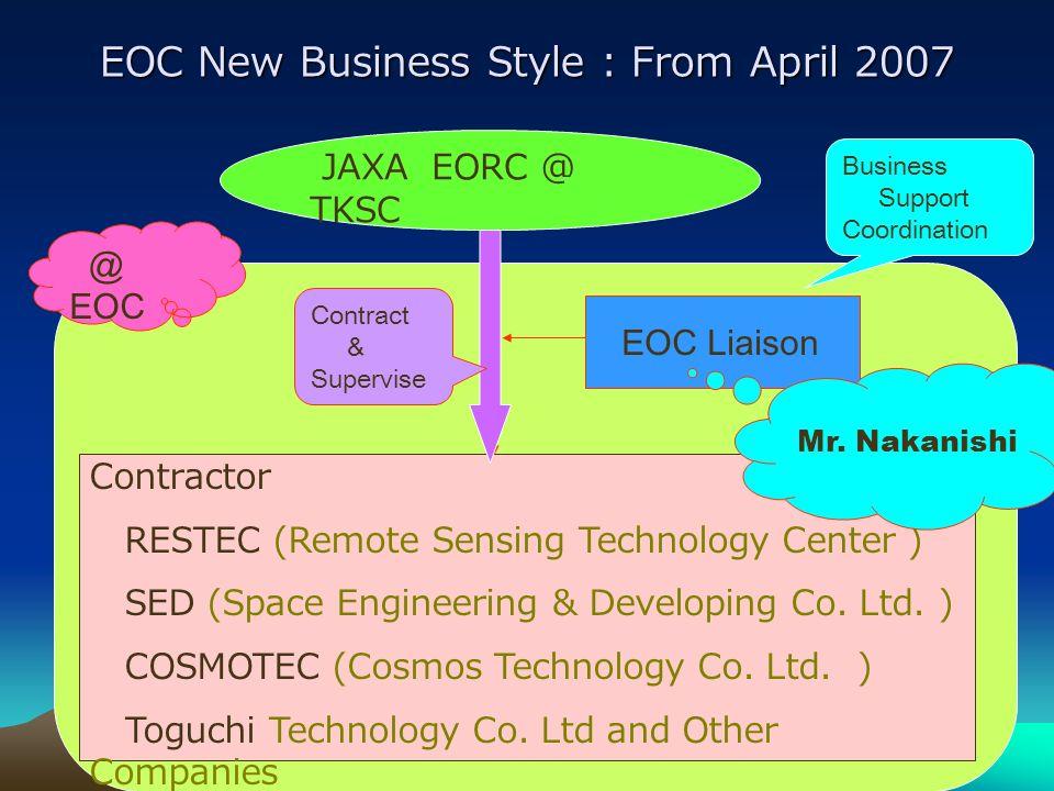 EOC Status Contd EOC Status Contd 4.JAXA EOC member moved to Tsukuba Space Center (TKSC) except one person (liaison). (From April 07, RESTEC have resp