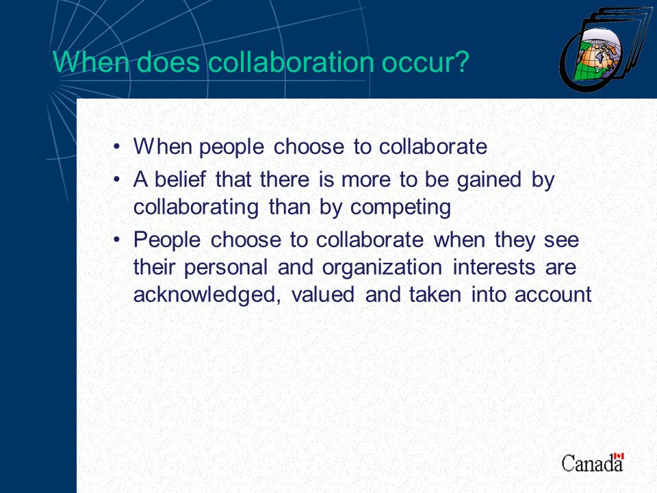 When does collaboration occur.