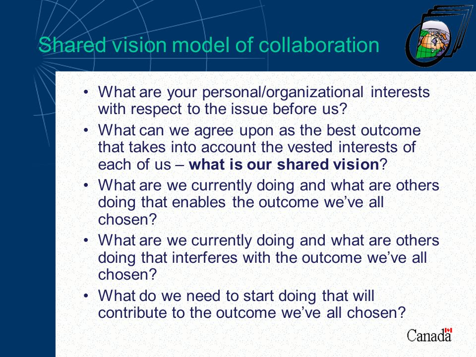 Shared vision model of collaboration What are your personal/organizational interests with respect to the issue before us.