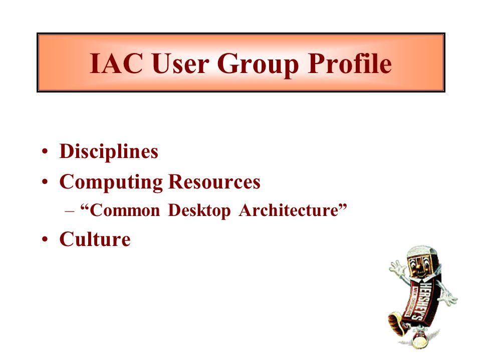 IAC User Group Profile Disciplines Computing Resources –Common Desktop Architecture Culture