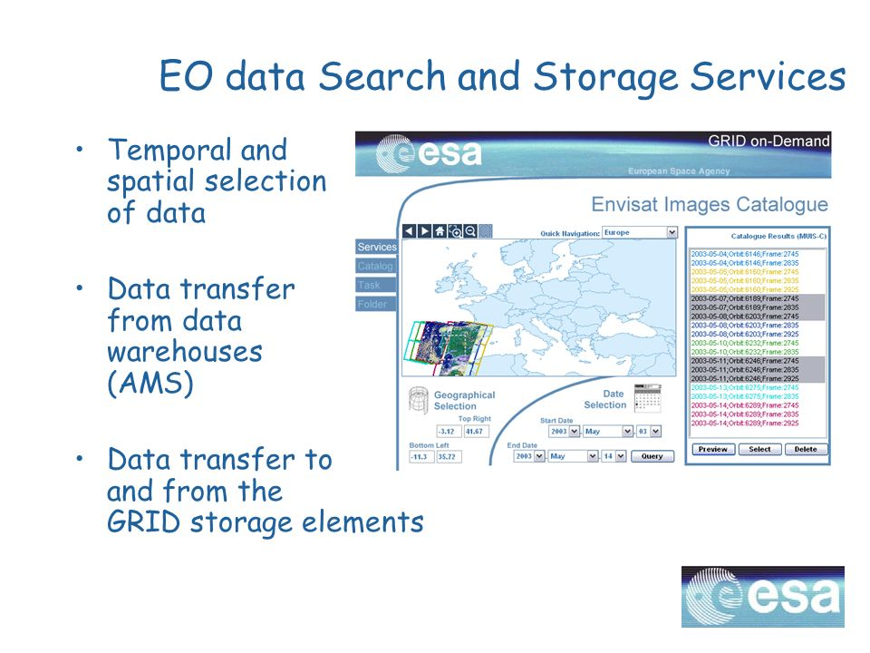 EO data Search and Storage Services Temporal and spatial selection of data Data transfer from data warehouses (AMS) Data transfer to and from the GRID storage elements