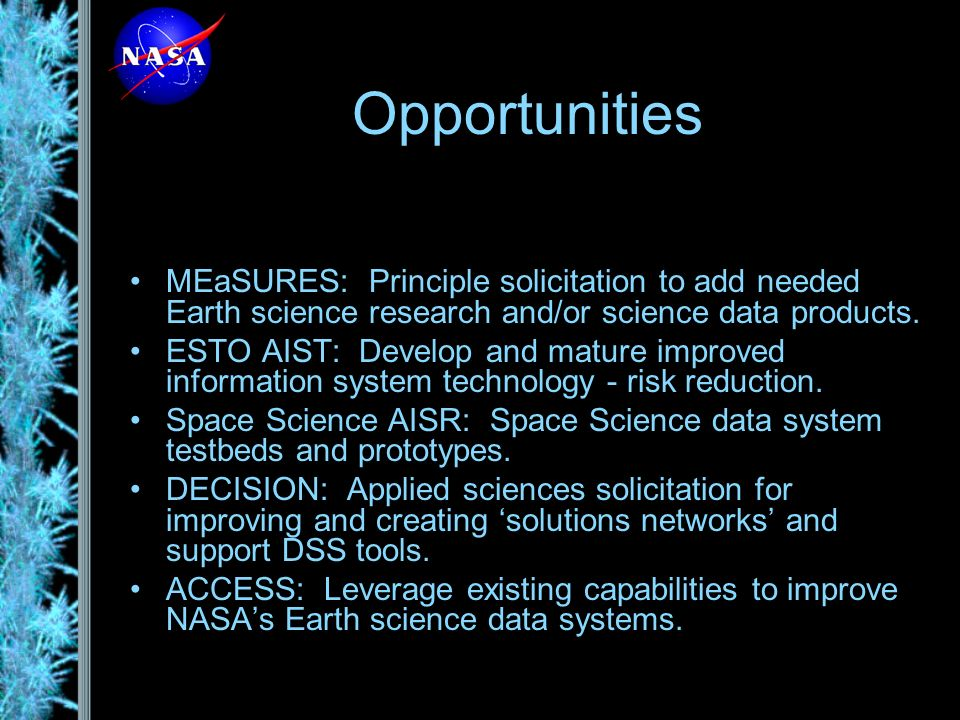 ESDSWG Highlights Standards Processes Group –Revised its process to remove separate iterative reviews of implementation followed by operation –Recommended greater use of WMS by NASA Earth Science Data Systems –Investigated and provided guidance on recent OPeNDAP security issue.