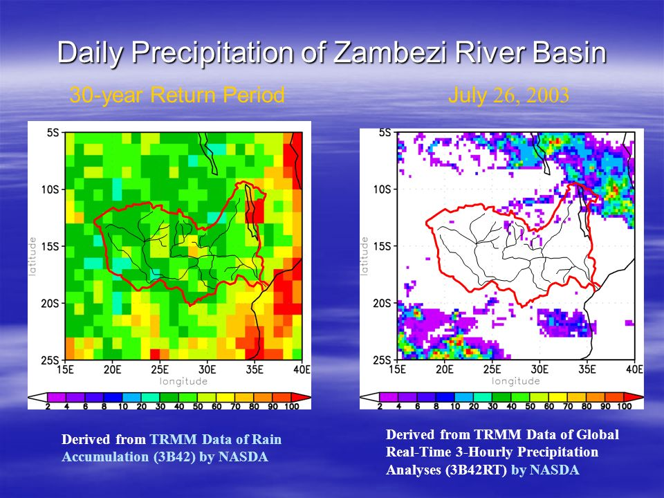 30-year Return PeriodJuly 26, 2003 Derived from TRMM Data of Rain Accumulation (3B42) by NASDA Derived from TRMM Data of Global Real-Time 3-Hourly Precipitation Analyses (3B42RT) by NASDA Daily Precipitation of Zambezi River Basin