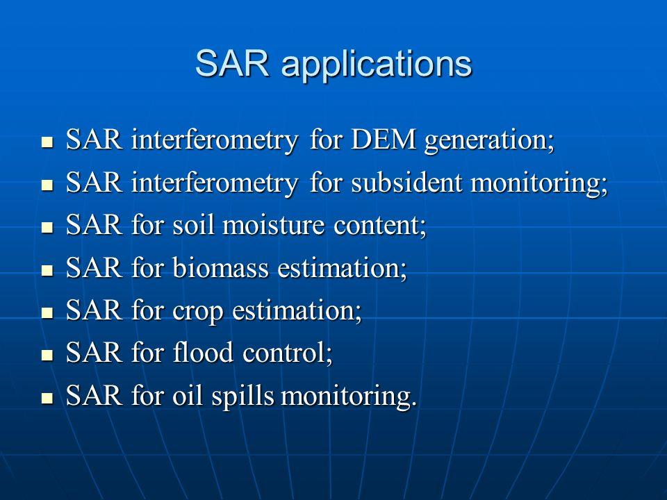 SAR applications SAR interferometry for DEM generation; SAR interferometry for DEM generation; SAR interferometry for subsident monitoring; SAR interf