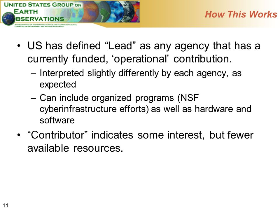 11 How This Works US has defined Lead as any agency that has a currently funded, operational contribution.