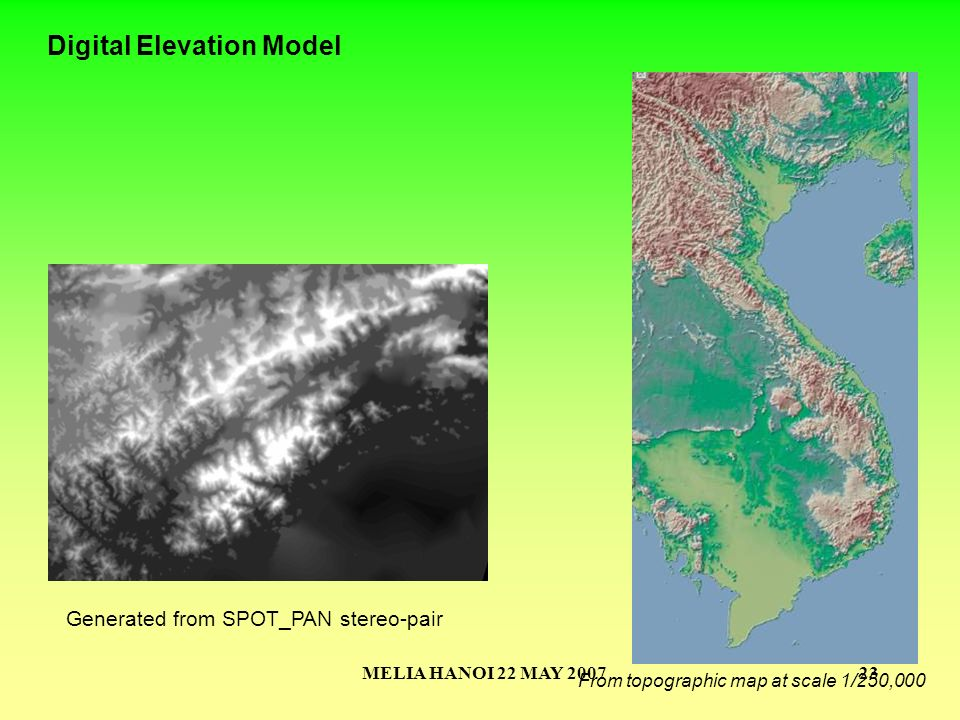 MELIA HANOI 22 MAY 200723 Digital Elevation Model From topographic map at scale 1/250,000 Generated from SPOT_PAN stereo-pair