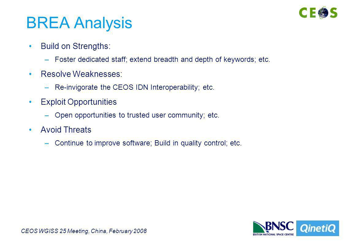 CEOS WGISS 25 Meeting, China, February 2008 BREA Analysis Build on Strengths: –Foster dedicated staff; extend breadth and depth of keywords; etc.