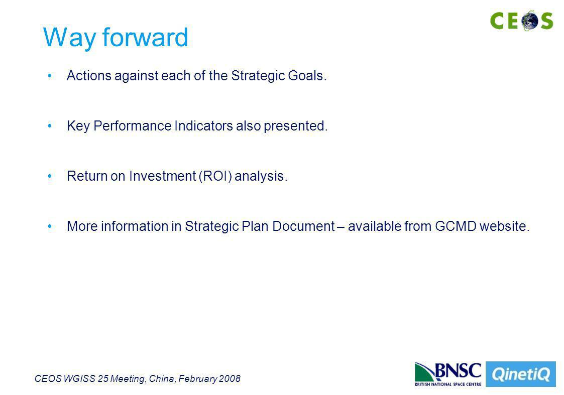 CEOS WGISS 25 Meeting, China, February 2008 Conclusions GCMD Team has produced detailed Strategic Response to recommendations of the Science User Working group (SUWG).