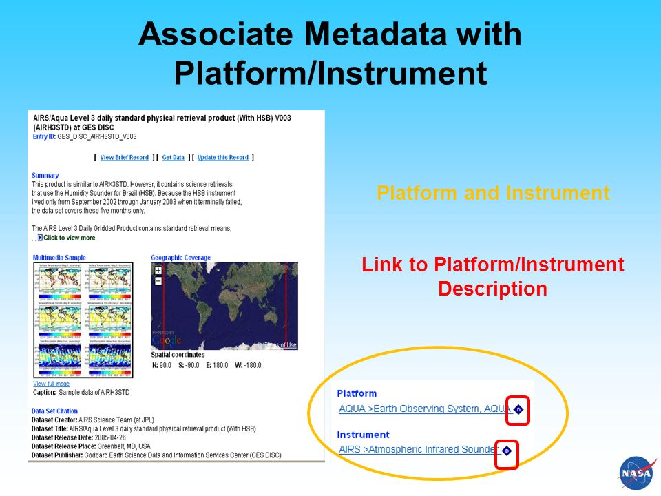 Associate Metadata with Platform/Instrument Platform and Instrument Link to Platform/Instrument Description