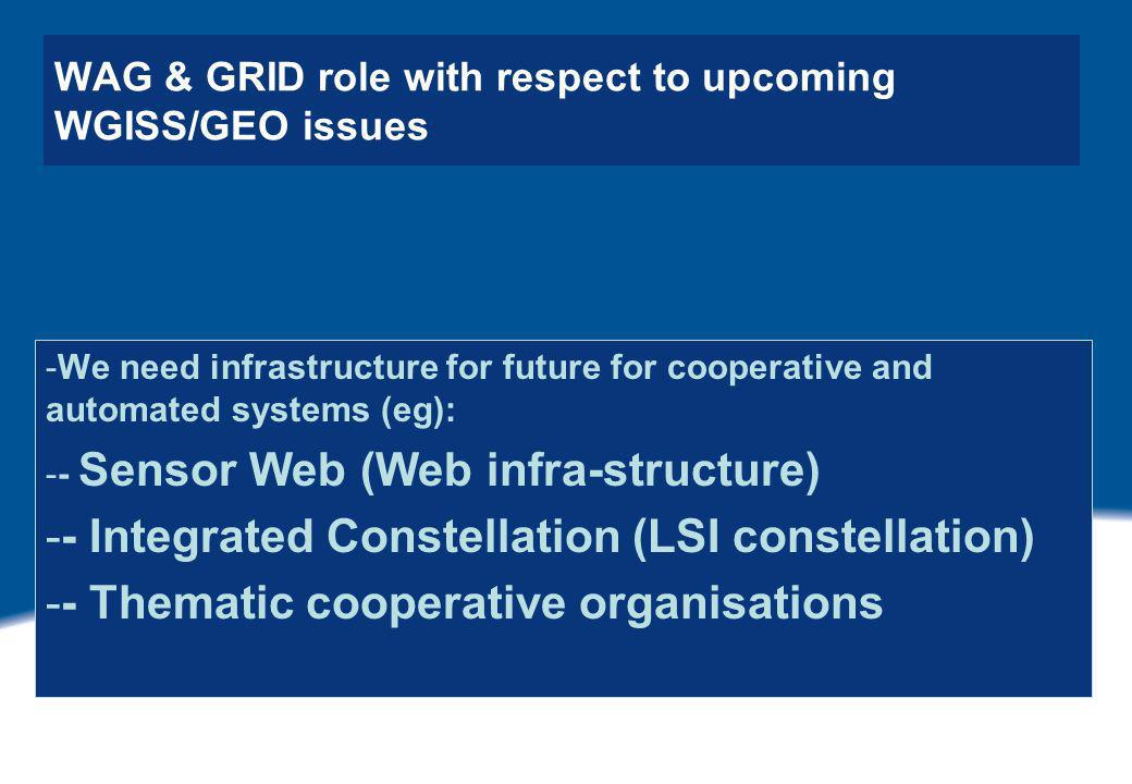 WAG & GRID role with respect to upcoming WGISS/GEO issues -We need infrastructure for future for cooperative and automated systems (eg): -- Sensor Web (Web infra-structure) -- Integrated Constellation (LSI constellation) -- Thematic cooperative organisations
