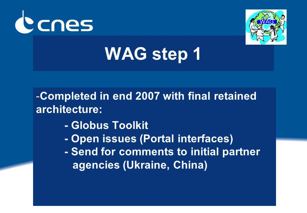 WAG step 1 -Completed in end 2007 with final retained architecture: - Globus Toolkit - Open issues (Portal interfaces) - Send for comments to initial partner agencies (Ukraine, China)