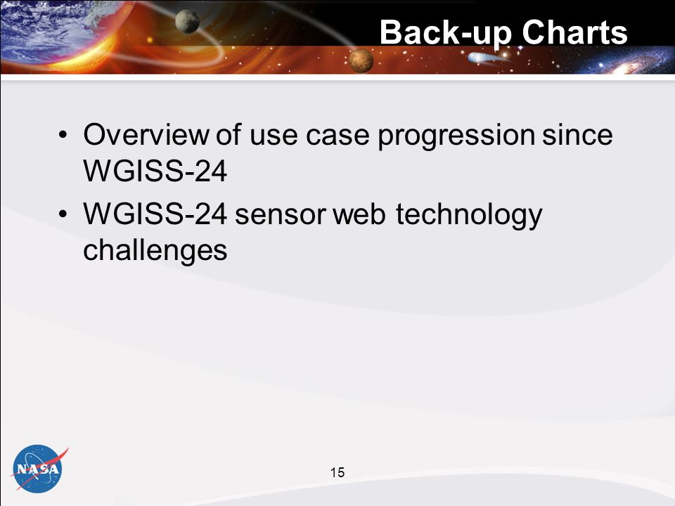 15 Back-up Charts Overview of use case progression since WGISS-24 WGISS-24 sensor web technology challenges