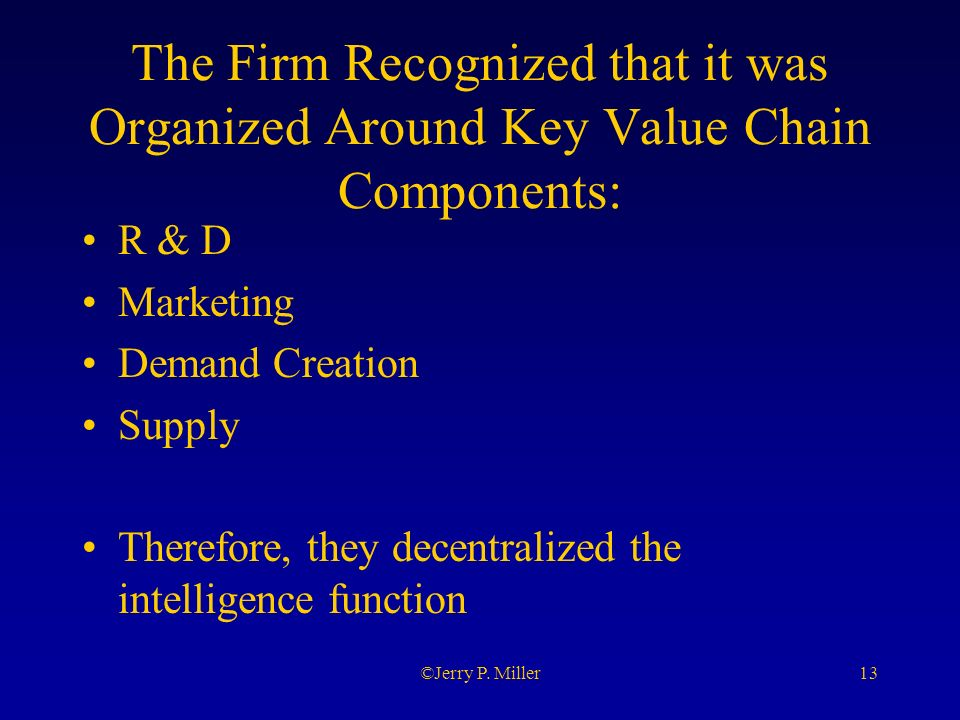 13©Jerry P. Miller The Firm Recognized that it was Organized Around Key Value Chain Components: R & D Marketing Demand Creation Supply Therefore, they