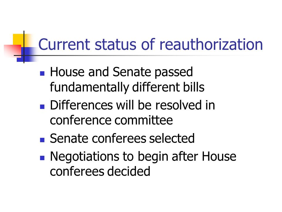 Current status of reauthorization House and Senate passed fundamentally different bills Differences will be resolved in conference committee Senate conferees selected Negotiations to begin after House conferees decided