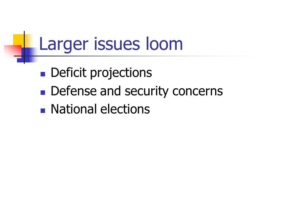 Larger issues loom Deficit projections Defense and security concerns National elections