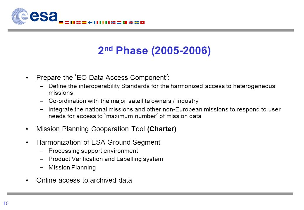 16 2 nd Phase (2005-2006) Prepare the EO Data Access Component : –Define the interoperability Standards for the harmonized access to heterogeneous missions –Co-ordination with the major satellite owners / industry –integrate the national missions and other non-European missions to respond to user needs for access to maximum number of mission data Mission Planning Cooperation Tool (Charter) Harmonization of ESA Ground Segment –Processing support environment –Product Verification and Labelling system –Mission Planning Online access to archived data