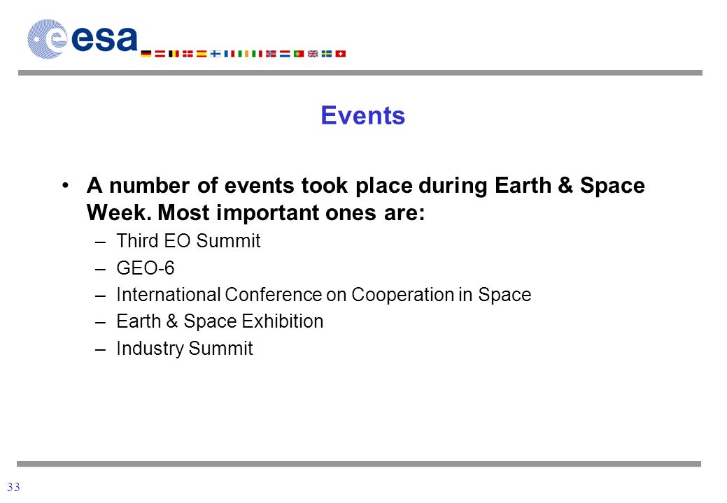 33 Events A number of events took place during Earth & Space Week.