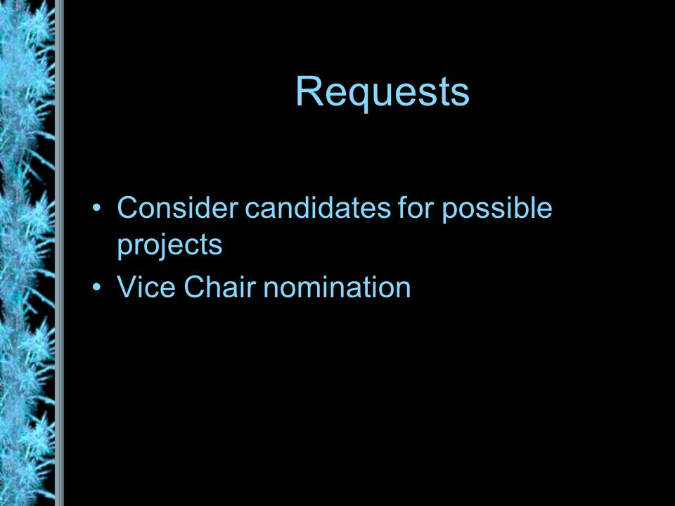 Consider candidates for possible projects Vice Chair nomination Requests