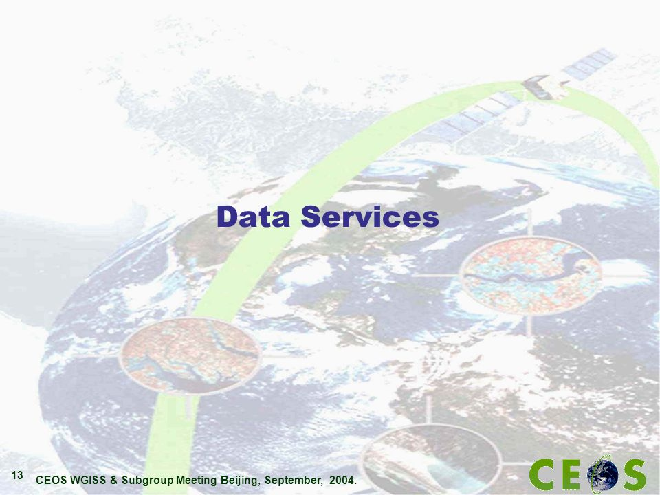 CEOS WGISS & Subgroup Meeting Beijing, September, 2004. 13 Data Services