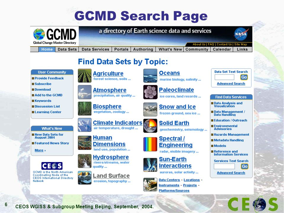 CEOS WGISS & Subgroup Meeting Beijing, September, 2004. 6 GCMD Search Page