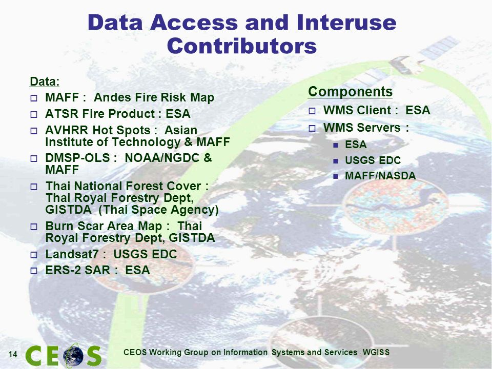 CEOS Working Group on Information Systems and Services - WGISS 14 Data Access and Interuse Contributors Components o WMS Client : ESA o WMS Servers : n ESA n USGS EDC n MAFF/NASDA Data: o MAFF : Andes Fire Risk Map o ATSR Fire Product : ESA o AVHRR Hot Spots : Asian Institute of Technology & MAFF o DMSP-OLS : NOAA/NGDC & MAFF o Thai National Forest Cover : Thai Royal Forestry Dept, GISTDA (Thai Space Agency) o Burn Scar Area Map : Thai Royal Forestry Dept, GISTDA o Landsat7 : USGS EDC o ERS-2 SAR : ESA
