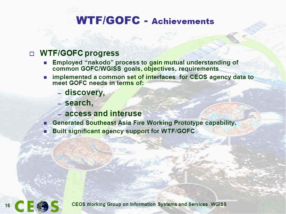 CEOS Working Group on Information Systems and Services - WGISS 16 WTF/GOFC - Achievements o WTF/GOFC progress n Employed nakodo process to gain mutual understanding of common GOFC/WGISS goals, objectives, requirements n implemented a common set of interfaces for CEOS agency data to meet GOFC needs in terms of: – discovery, – search, – access and interuse n Generated Southeast Asia Fire Working Prototype capability, n Built significant agency support for WTF/GOFC