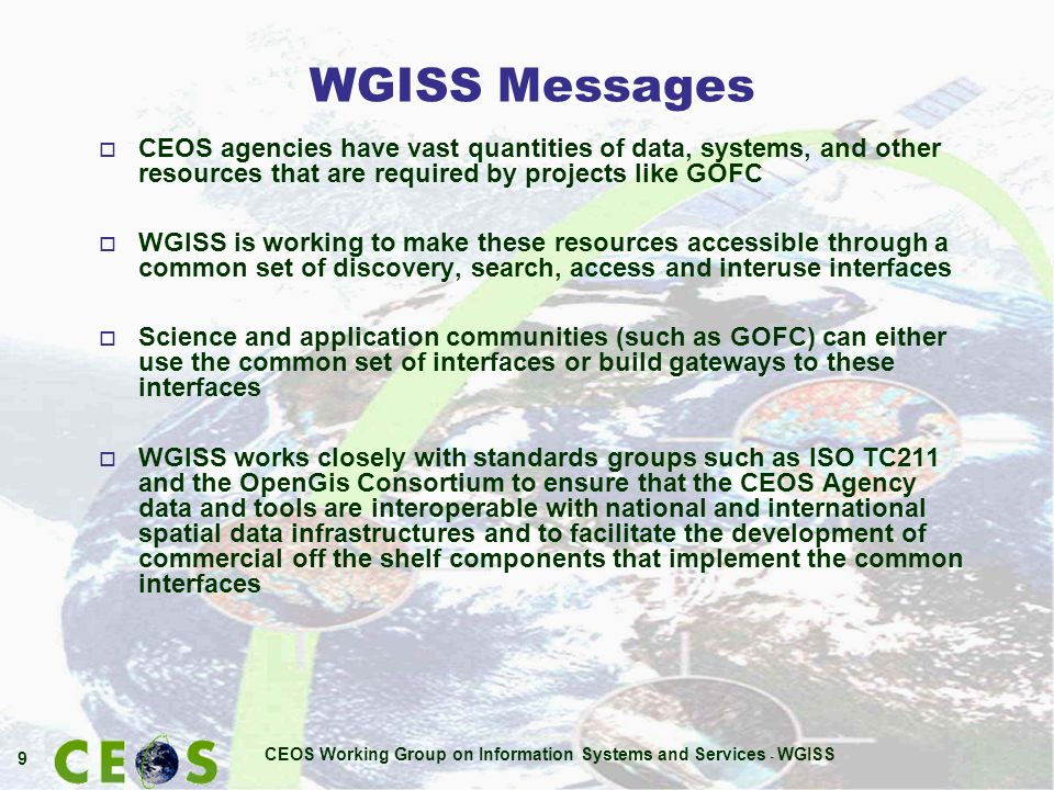 CEOS Working Group on Information Systems and Services - WGISS 30 Thank you!