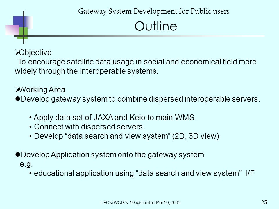 CEOS/WGISS-19 @Cordba Mar10,2005 24 ~ status of JAXA/Keio-SFC OGC system~ Gateway System Development for Dispersed Servers, & Social Application Development With Keio Univ.