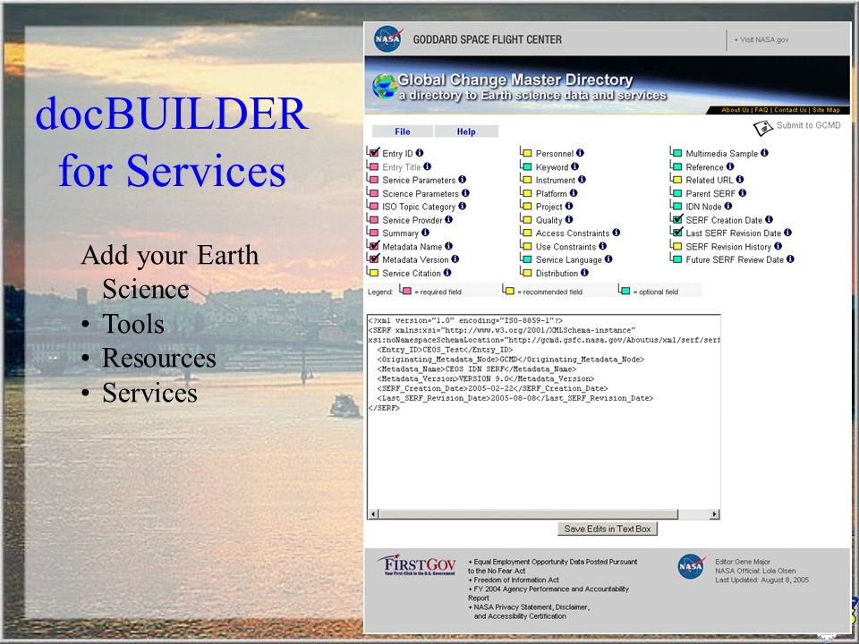 docBUILDER for Services Add your Earth Science Tools Resources Services