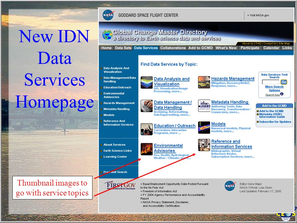 New IDN Data Services Homepage Thumbnail images to go with service topics