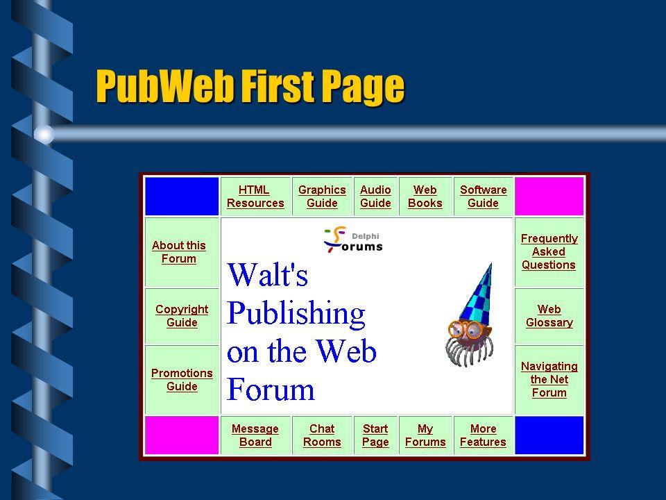 PubWeb First Page
