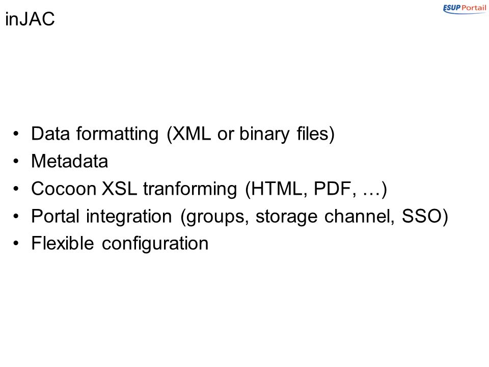 inJAC Data formatting (XML or binary files) Metadata Cocoon XSL tranforming (HTML, PDF, …) Portal integration (groups, storage channel, SSO) Flexible configuration