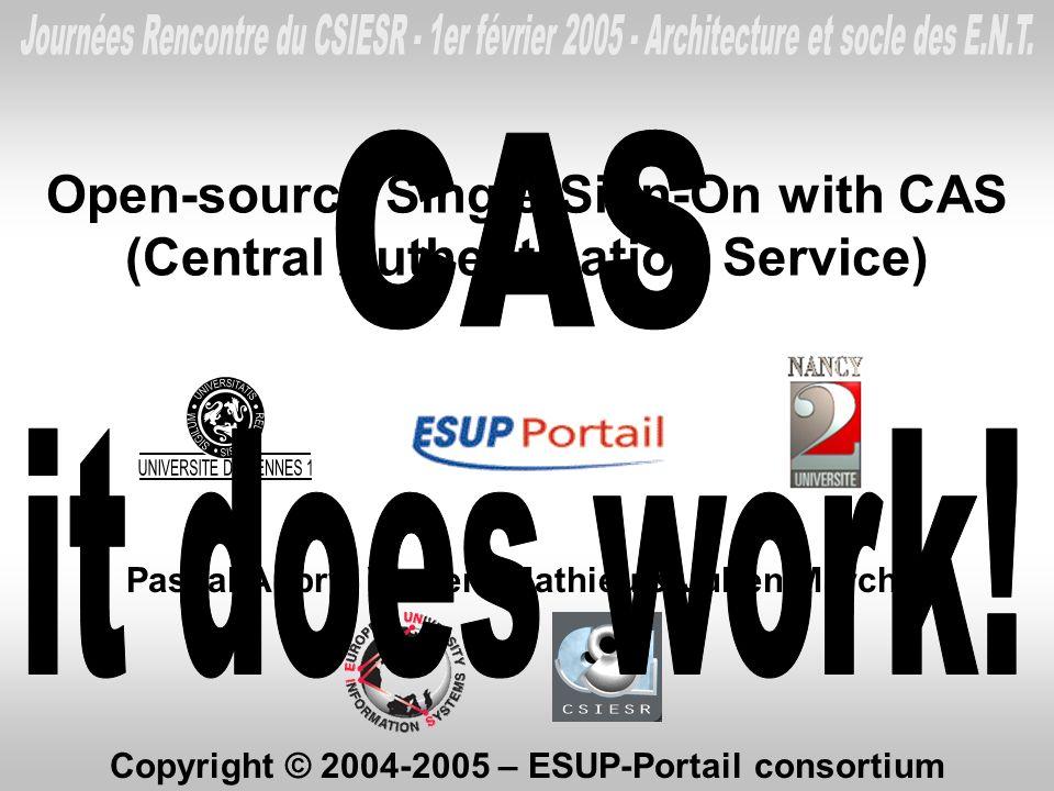 Open-source Single Sign-On with CAS (Central Authentication Service) Pascal Aubry, Vincent Mathieu & Julien Marchal Copyright © 2004-2005 – ESUP-Porta
