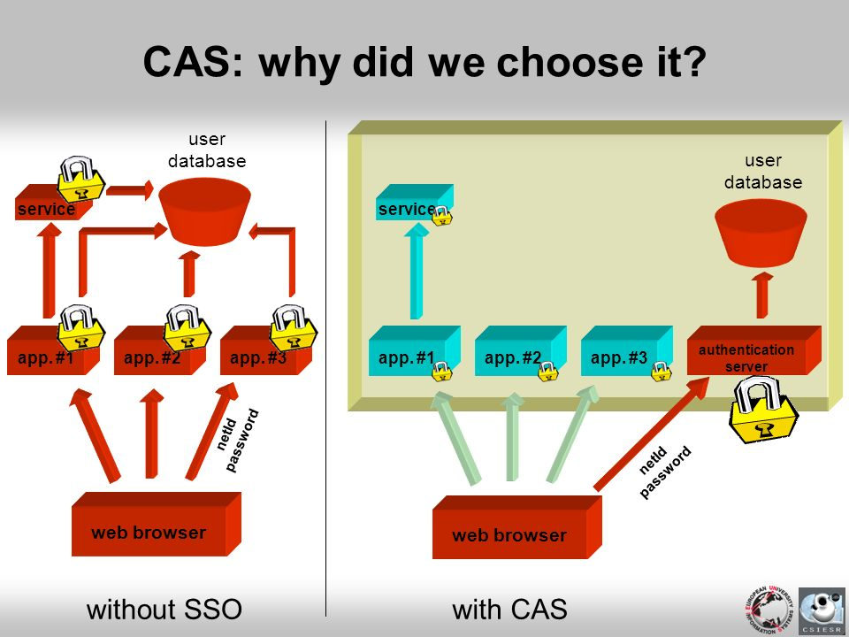 web browser app. #1app. #2app. #3 with CAS service CAS: why did we choose it? web browser app. #1app. #2app. #3 authentication server without SSO user