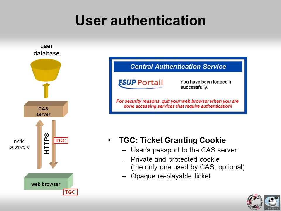 User authentication TGC: Ticket Granting Cookie –Users passport to the CAS server –Private and protected cookie (the only one used by CAS, optional) –