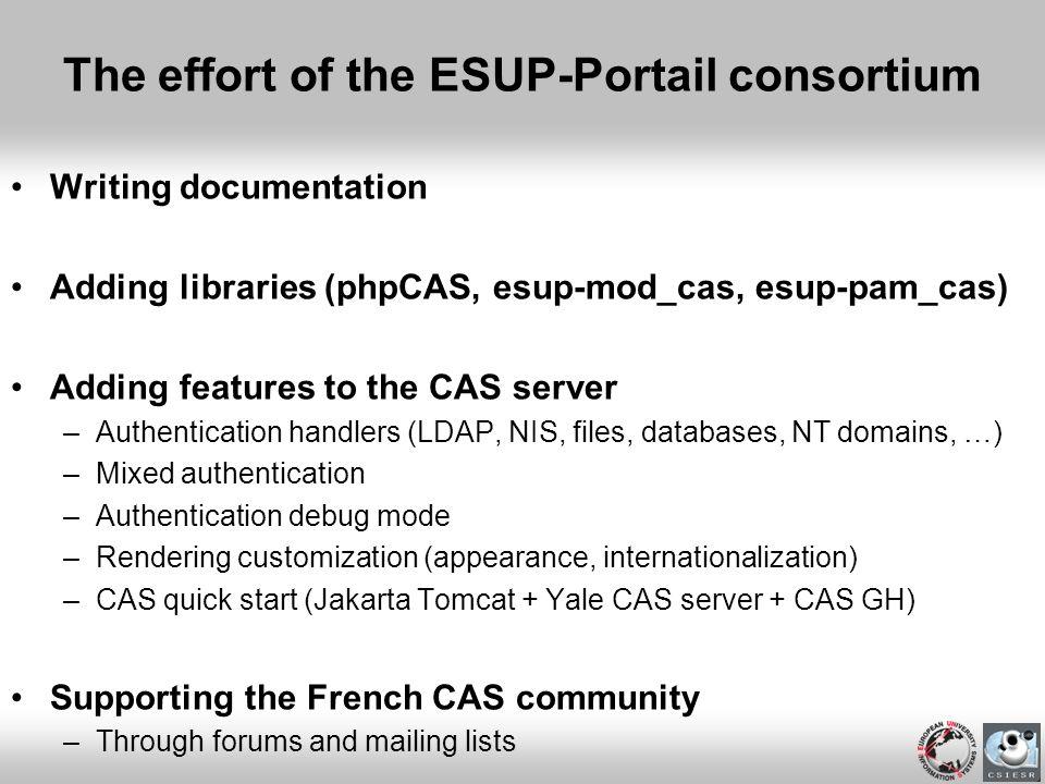 The effort of the ESUP-Portail consortium Writing documentation Adding libraries (phpCAS, esup-mod_cas, esup-pam_cas) Adding features to the CAS serve