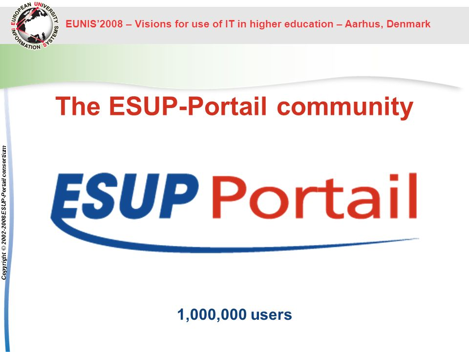 EUNIS2008 – Visions for use of IT in higher education – Aarhus, Denmark Copyright © ESUP-Portail consortium The ESUP-Portail community 1,000,000 users